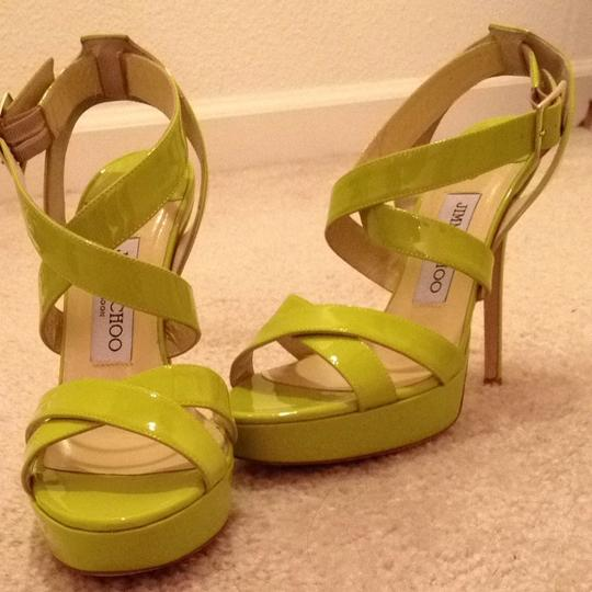 Jimmy Choo Plat Neon Sandals Heels Citron Platforms