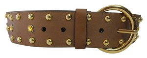 Genuine Leather Brown Gold Studded Embellished Thick Women's Belt Size 36