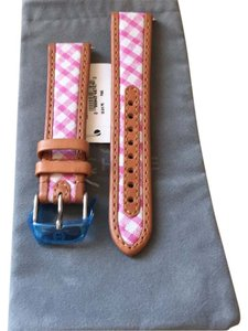 Michele MICHELE Watch Band 18mm Pink & White Gingham Tan Trim Leather w/Pouch NWT $120