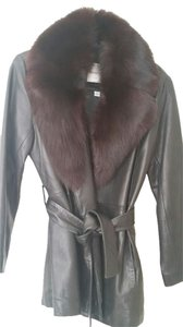 Andrew Marc Fur Trim Leather Jacket