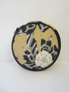 Chanel Chanel Yellow/Black/White Circular Makeup Bag with Rose and Leaf Print