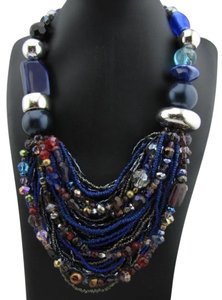 Other Handmade Blue Plastic Multi-Colored Necklace