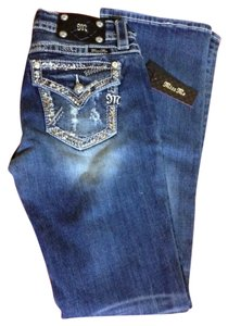 Miss Me Bling Boot Cut Jeans-Dark Rinse