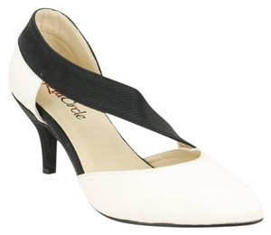 Red Circle Footwear Pointy Low Heel Ankle Strap Casual White Pumps