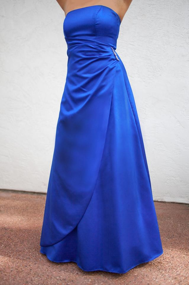 6e9b7f9b894 David s Bridal Horizon (Blue) Satin Gown with Drape Brooch Style  8567 Blue Gown  Gown Ball Gown Sapphire Blue Full Length Floor Length Formal Bridesmaid Mob  ...