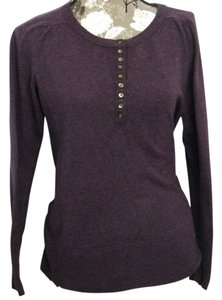 Eddie Bauer Henley Sweater Comfortable T Shirt Purple