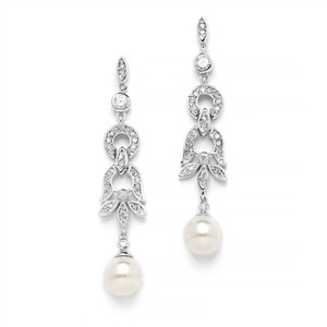Mariell Art Deco Cz And Pearl Wedding Earrings