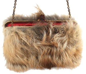Christian Louboutin Fox Fur Convertible Natural Clutch