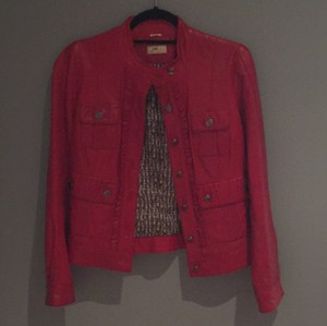 June True red Leather Jacket
