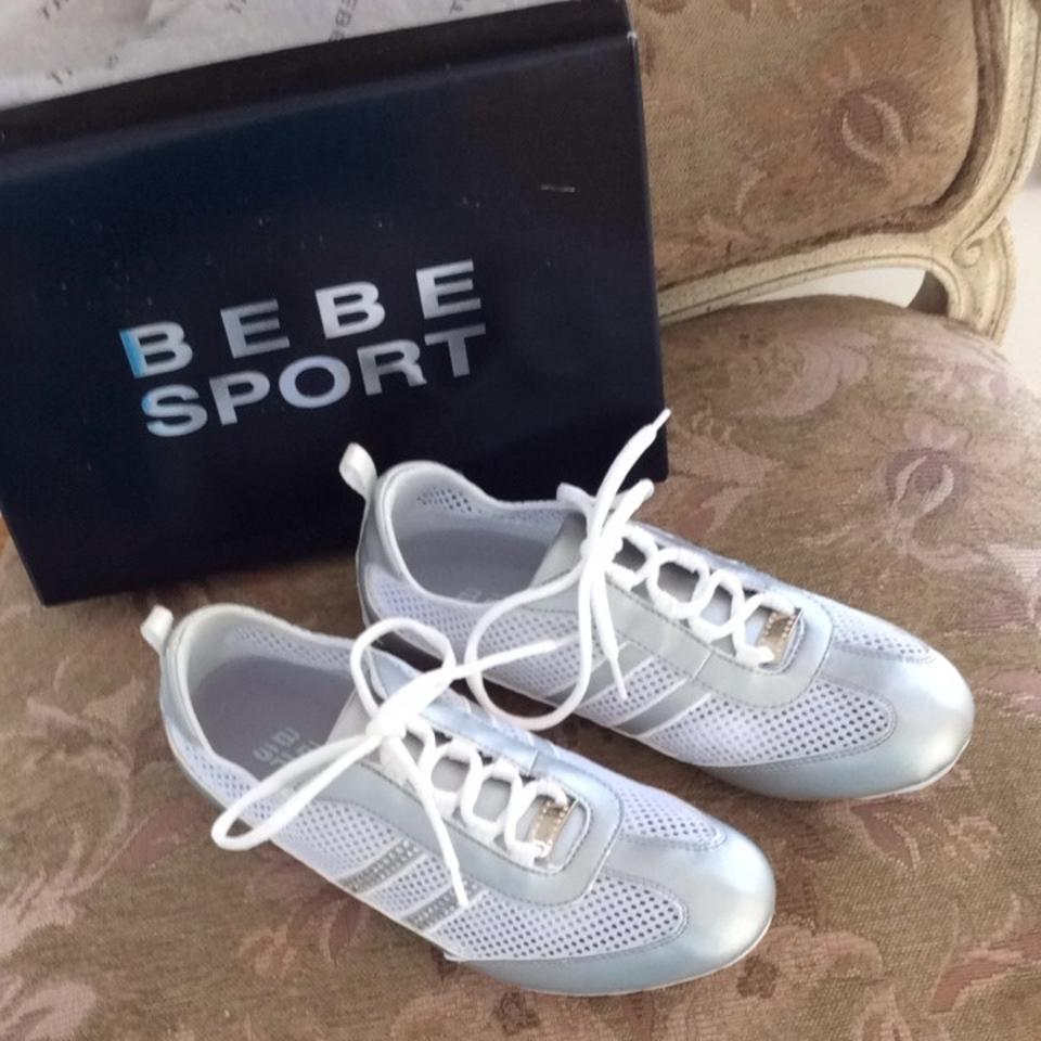 bebe sport be sassy white metallic silver athletic shoes