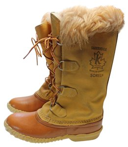 Sorel Leather Faux Fur Snow Tan Boots