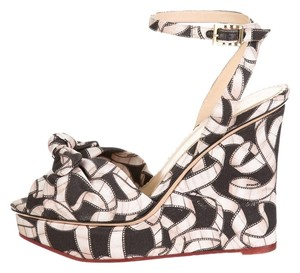 Charlotte Olympia Nwt Print Wedge Black and beige Wedges