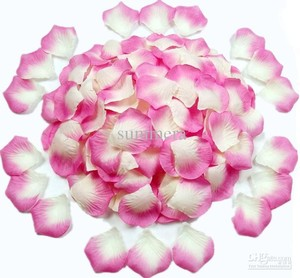 Pink and White 5000x & Silk Rose Petals Wedding Bridal Party Flower Decoration Table Top Centerpieces Decor