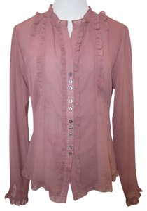 Oleg Cassini Button Down Shirt Mauve Rose Sheer