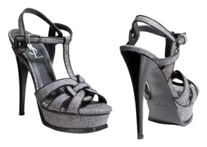 Saint Laurent Ysl Tribute 41 Platform Grey Sandals