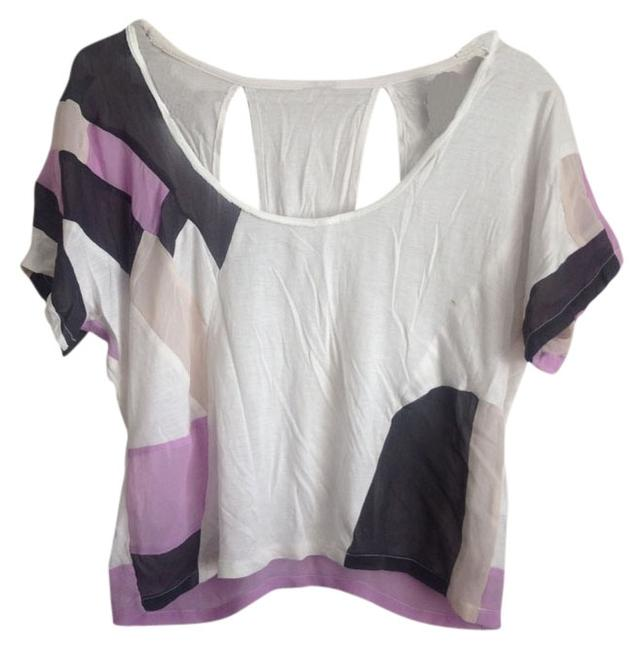 Topshop T Shirt White and Purple