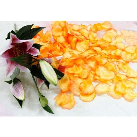 Orange 5000x Golden Silk Rose Petals Bridal Party Table Top Centerpieces Decor Flower Girl Basket