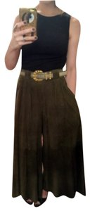 Ralph Lauren Shearling Boho Chic Suede Wide Leg Pants Green