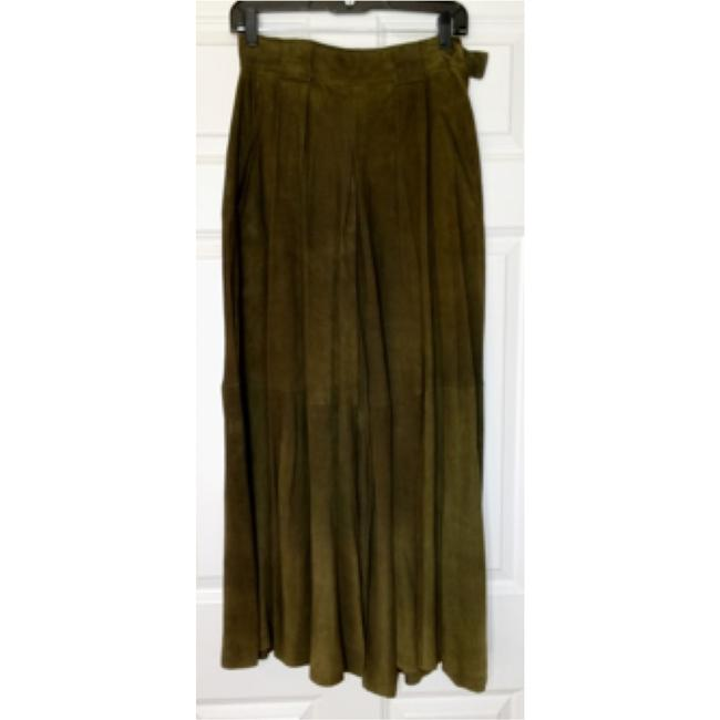 Ralph Lauren Shearling Boho Chic Suede Soft Equestrian High Waist Gaucho Culotte Dark Warm Winter Ski Wide Leg Pants Green