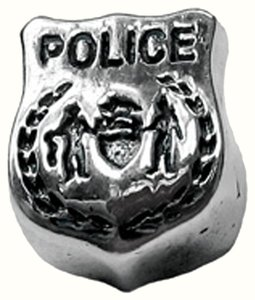Zable Zaple Police Badge 925 Sterling Silver Bead Charm