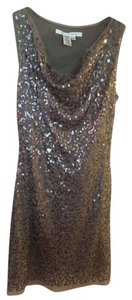 Max Studio Sequins Fun Party Taupe Dress