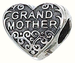 Zable Zable Grandmother Heart 925 Sterling Silver Bead Charm