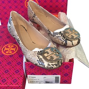 12cea2743217 Tory Burch Python black and cream with gold Flats
