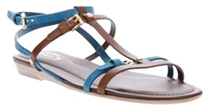 Tod's Flats Strappy Blue suede/brown leather Sandals