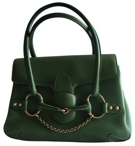 Gucci Tom Ford Flap Horsebit Classic Vintage Collectible Gold Satchel in Green
