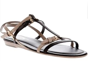 Tod's Suede Strappy Beige suede/dark brown leather Sandals