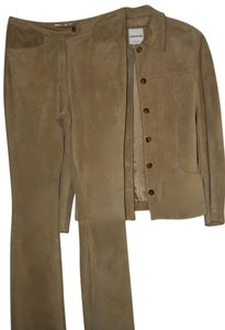 Andrew Marc Camel Suede Pantsuit, fully lined, dressmakers details Andrew Marc