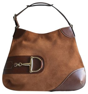 Gucci Tom Ford Brown Suede Horsebit Hobo Bag