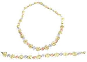 14KT SOLID YELLOW WHITE ROSE TRI COLOR GOLD SET LOT NECKLACE + BRACELET FLOWER