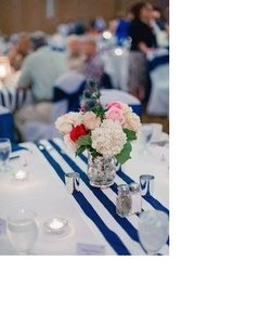 Navy Blue And White Table Runners Striped Set Of 20 Tablecloth 36 Off Retail