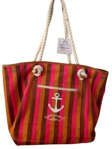 Jonathan Adler Tote in Orange and pink and dark tan stripes