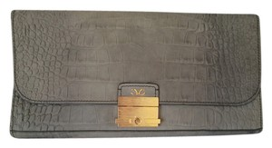 Monika Chiang Oversided New With Tags Leather Crocodile Leather Grey Clutch