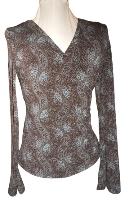 Preload https://item1.tradesy.com/images/express-brown-and-blue-mock-wrap-blouse-size-4-s-771460-0-0.jpg?width=400&height=650