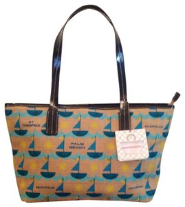 Jonathan Adler Tote in Dark Blue Patent Leather