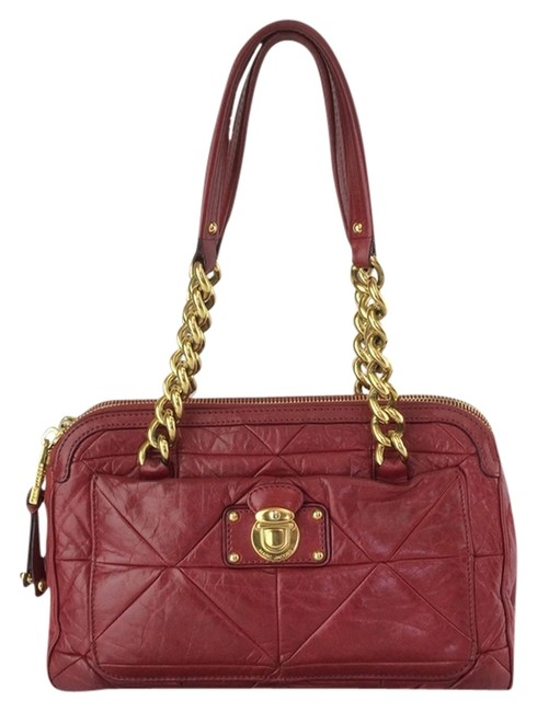 Item - Quilted Red Leather Satchel