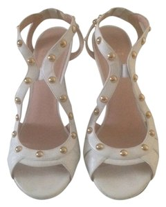 Stuart Weitzman Gold Studded Leather White Sandals