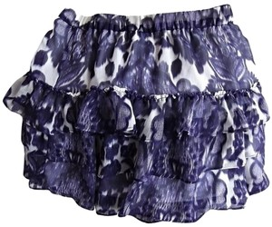 Express Ruffled Lined Leopard Flowers Mini Skirt Purple & White