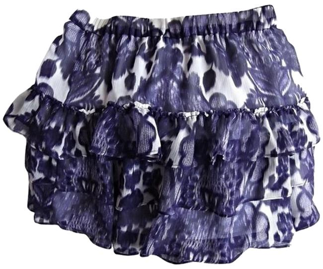 Item - Purple & White Flowers Leopard Tiered Skirt Size 6 (S, 28)