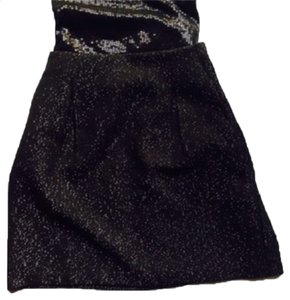 Gap Tweed Sparkly Mini Skirt Black