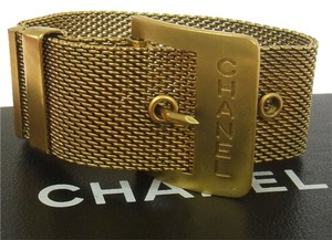 Chanel Authentic CHANEL Vintage CC Logos Belt Motif Gold-Tone Bracelet France Bangle Chain