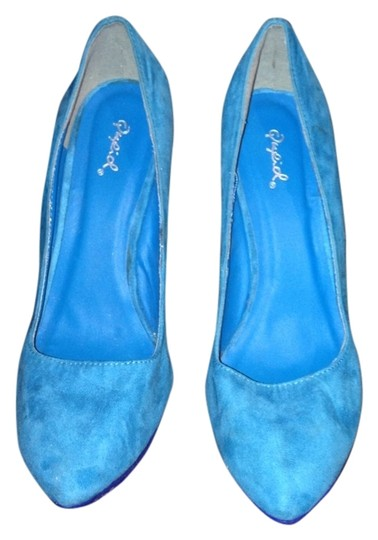 Qupid ROYAL AND MEDIUM BLUE AND LIME GREEN Wedges