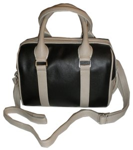 Nine West Structured Structured Satchel in Black and Off White