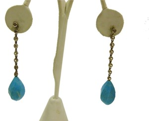 .925 Sterling Silver Turquoise Drop Earrings with Crystal Accents
