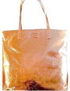 Kate Spade Textured Fabric Foil Versatile Interior Pockets Bon Tote in Rose Gold