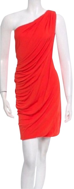 Item - Orange/Red Draped Assymetrical Above Knee Cocktail Dress Size 2 (XS)