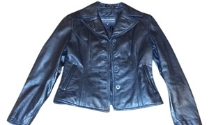 Wilson Buttoned Front Notched Lapel Slanted Stitching Leather Jacket